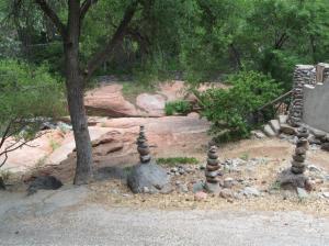 Rock cairns, meditation, oak creek